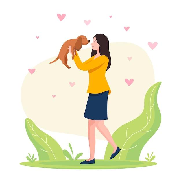 Mulher segurando um conceito de adoção de cachorro adorável Vetor Premium