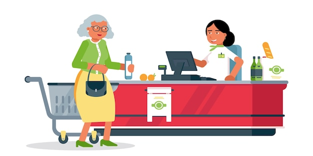Mulher sênior na ilustração do caixa, cliente e caixa no caixa no personagem de desenho animado de supermercado, balconista, assistente de loja de uniforme, serviço de varejo, compras no supermercado Vetor Premium