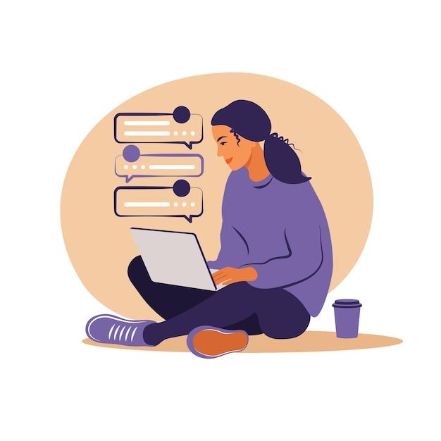 Mulher sentada com o laptop. ilustração do conceito para trabalhar, estudar, educar, trabalhar em casa, estilo de vida saudável Vetor Premium