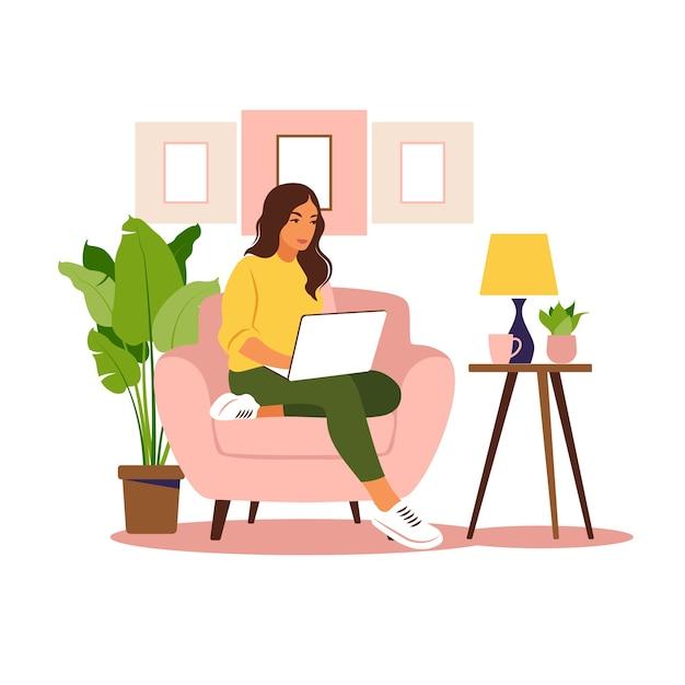 Mulher sentada com o laptop. ilustração do conceito para trabalhar, estudar, educar, trabalhar em casa, estilo de vida saudável. Vetor Premium