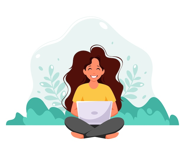 Mulher sentada com o laptop no fundo da natureza. freelance, estudar online, trabalhar a partir do conceito de casa. em estilo simples. Vetor Premium