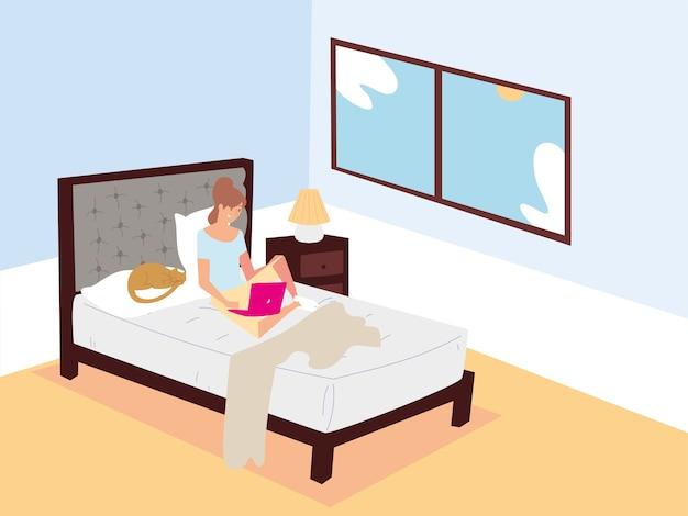 Mulher sentada na cama com laptop e trabalhando remotamente em casa ilustração Vetor Premium