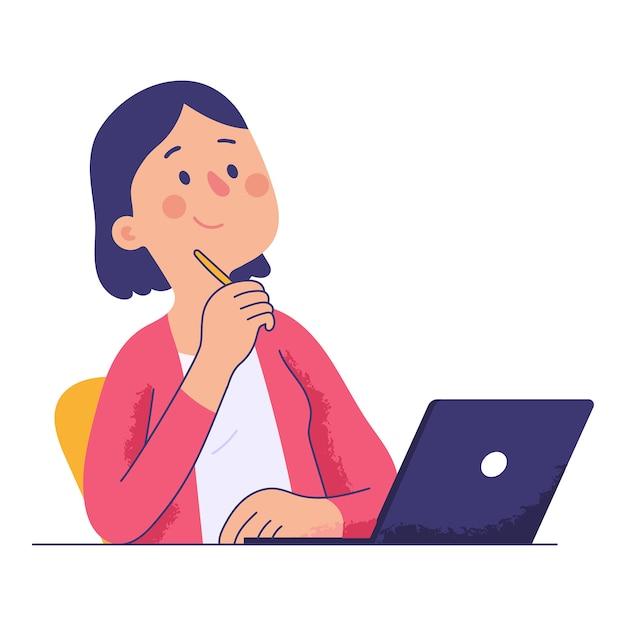 Mulher sentada na mesa do escritório, segurando uma caneta enquanto pensava Vetor Premium