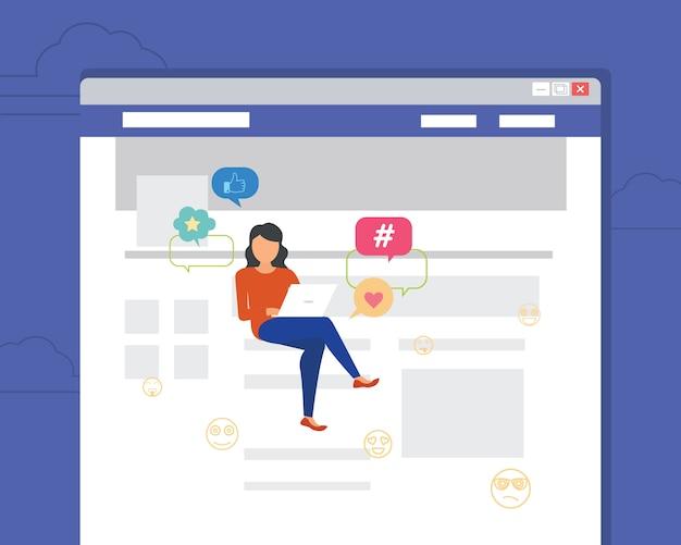 Mulher sentada na página usando o laptop para ler notícias Vetor Premium