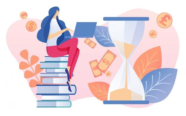 Mulher sentada na pilha de livros com notebook dos desenhos animados Vetor Premium