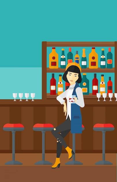 Mulher sentada no bar Vetor Premium