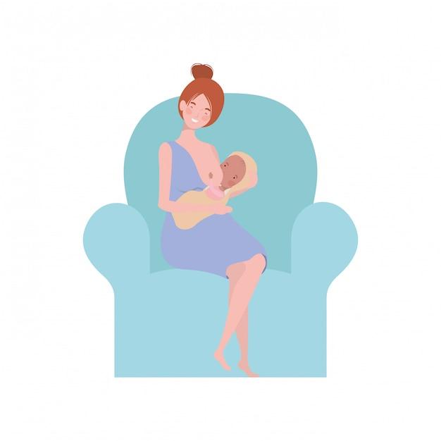 Mulher, sentando, ligado, sofá, com, um, bebê recém-nascido, em, dela, braços Vetor Premium