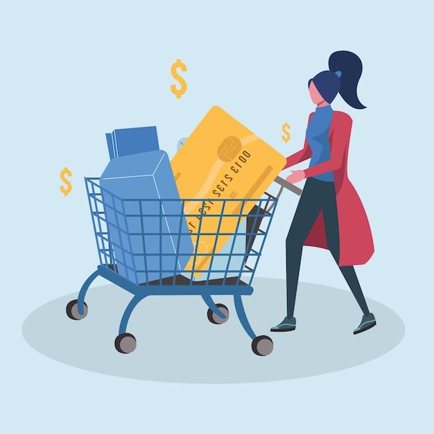 Mulher shoping com carrinho de cartão de crédito Vetor Premium