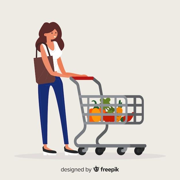 Mulher, shopping, em, a, supermercado, fundo Vetor grátis