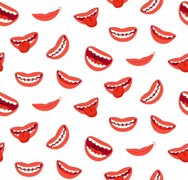 Mulher sorridente lábios sem costura padrão Vetor Premium