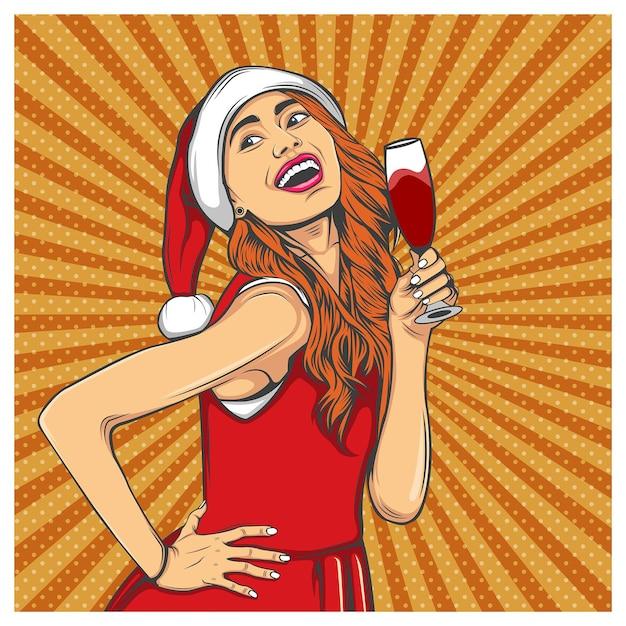 Mulher sorrindo com uma taça de vinho Vetor Premium