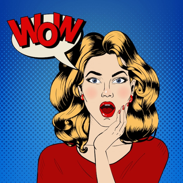 Mulher surpreendida com bolha e expressão wow em estilo de quadrinhos Vetor Premium