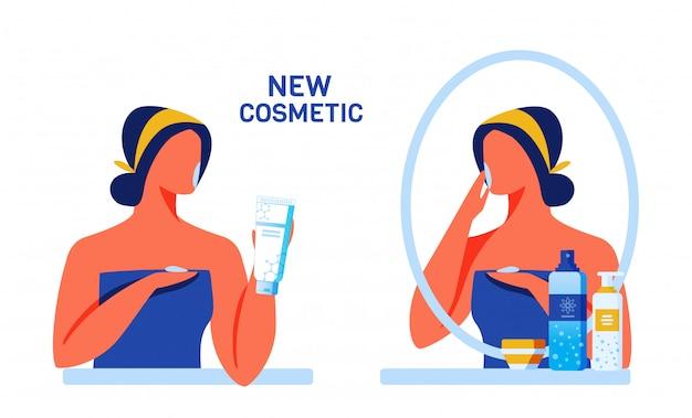 Mulher, testar, novo, cosméticos, para, rosto, e, corpo Vetor Premium