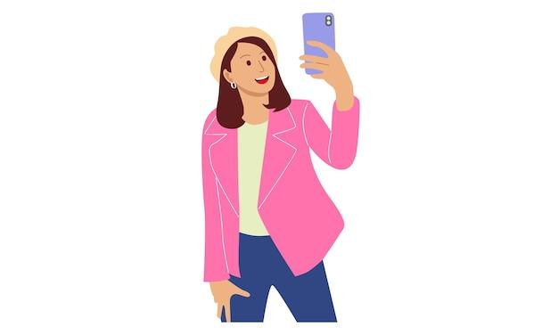 Mulher tira uma selfie com a câmera do telefone Vetor Premium