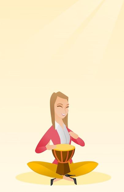 Mulher, tocando, a, étnico, tambor Vetor Premium