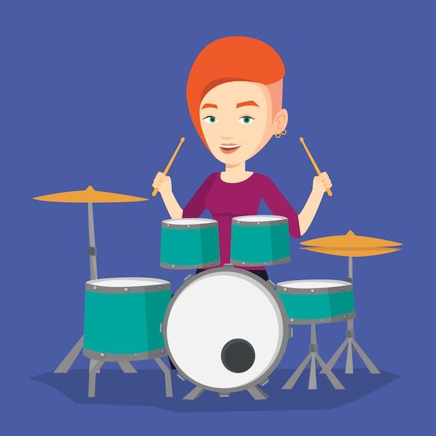 Mulher tocando na ilustração de kit de bateria. Vetor Premium