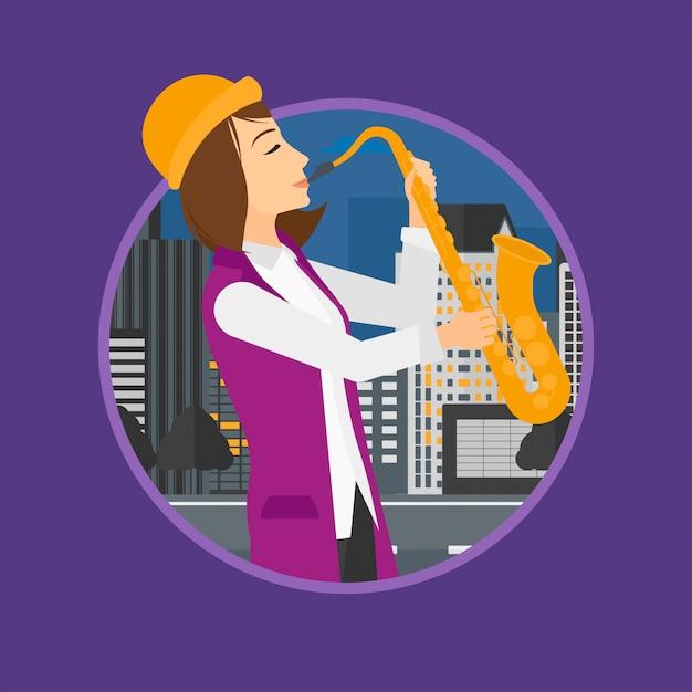 Mulher tocando saxofone. Vetor Premium