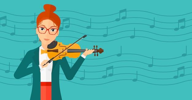Mulher tocando violino. Vetor Premium