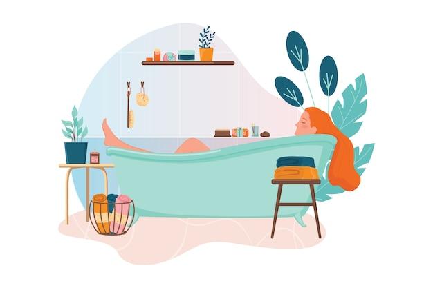 Mulher tomando banho. higiene e beleza. conceito de banheiro de resíduos zero. corpo de lavagem de menina. Vetor Premium