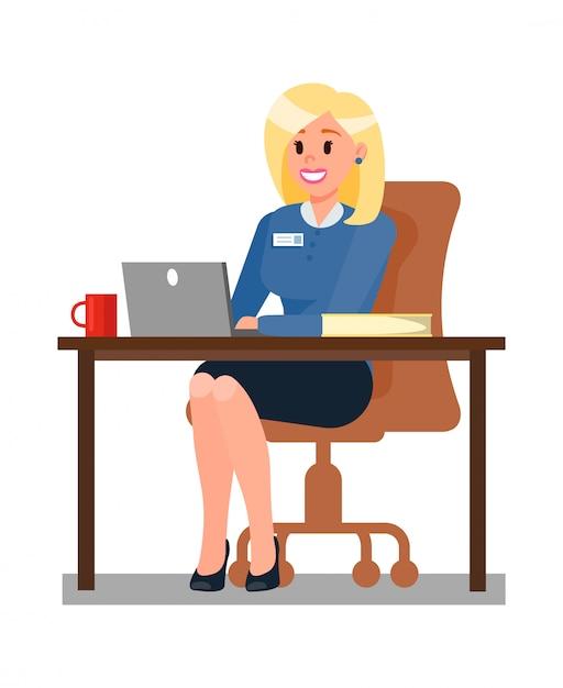 Mulher, trabalhando, em, escritório, apartamento, vetorial, ilustração Vetor Premium