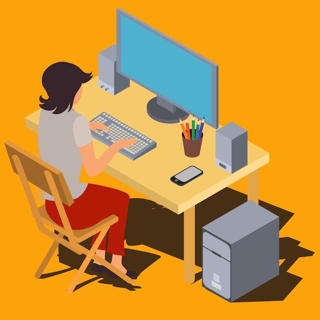 Mulher trabalhando no computador em vetor isométrico de mesa Vetor grátis