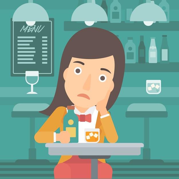Mulher triste com garrafa e copo. Vetor Premium