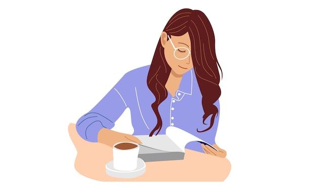Mulher usa óculos lendo um livro Vetor Premium