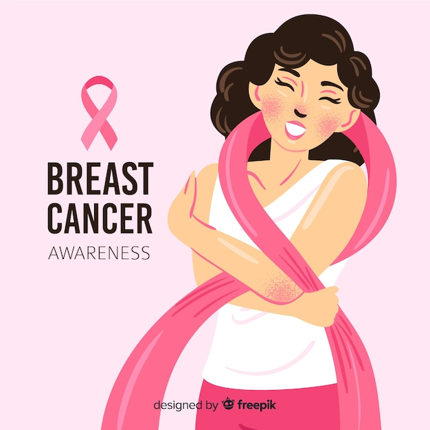 Mulher usando a fita rosa como um lenço na campanha de conscientização do câncer de mama Vetor Premium
