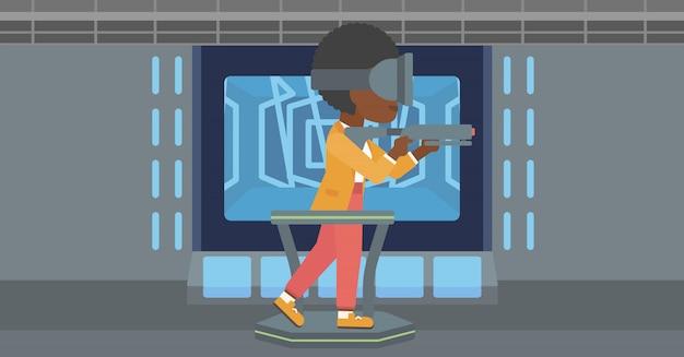 Mulher usando fone de realidade virtual. Vetor Premium