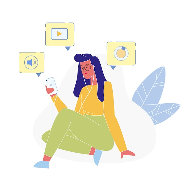 Mulher usando o novo celular ilustração plana Vetor Premium