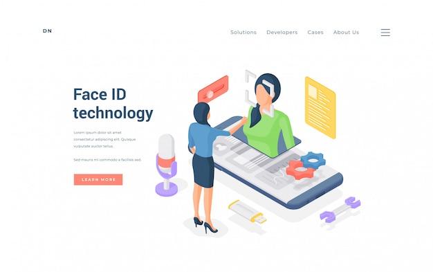 Mulher usando tecnologia face id. mulher isométrica usando o aplicativo face id em um smartphone moderno no banner do site de proteção de dados Vetor Premium