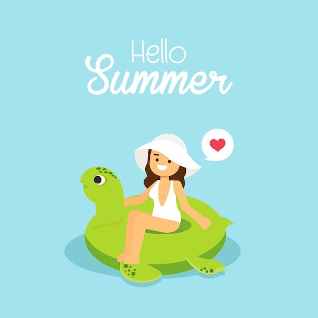Mulher vai viajar menina vestindo maiô natação na tartaruga inflável Vetor Premium