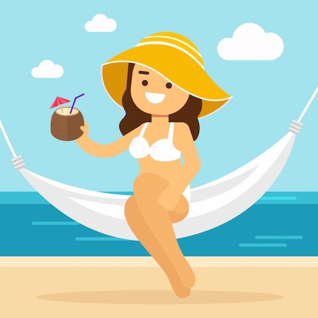 Mulher vai viajar nas férias de verão, sexy jovem relaxante em rede havaiana luau festa cocktail Vetor Premium