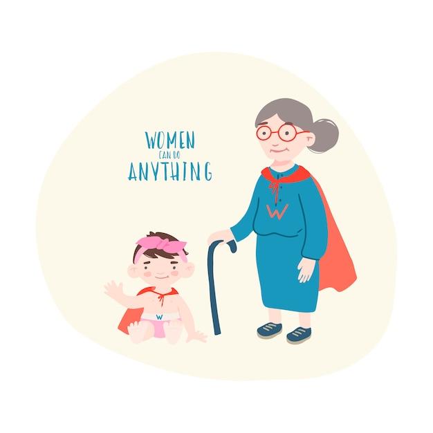 Mulher velha com menina em trajes de super herói Vetor Premium