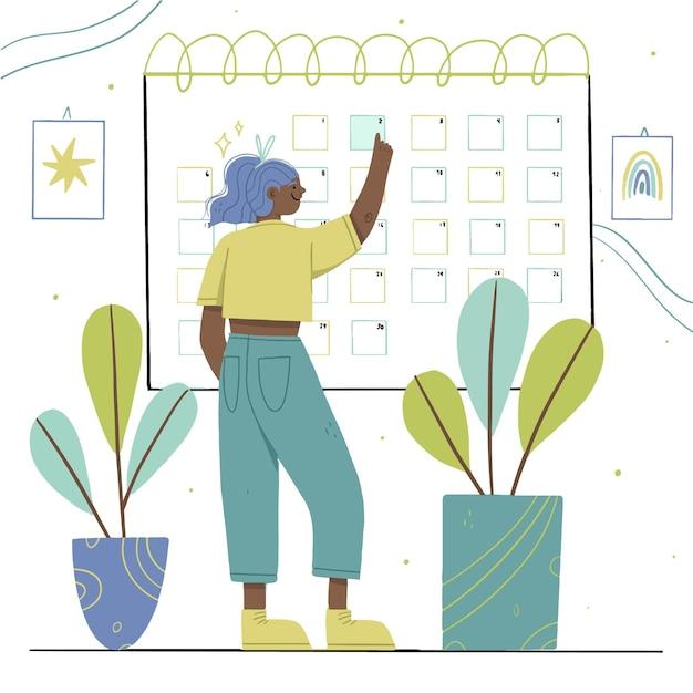 Mulher vestindo roupas casuais, reservar uma data no calendário Vetor grátis