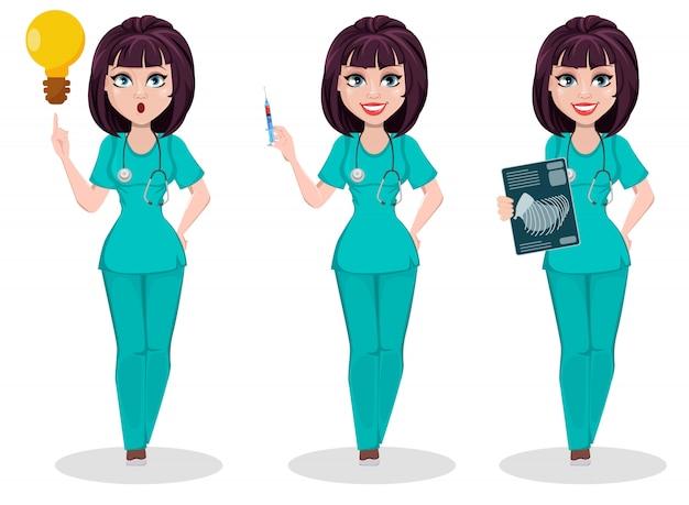 Mulher veterinária, conjunto de poses Vetor Premium