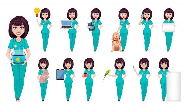 Mulher veterinária, personagem de desenho animado bonito Vetor Premium