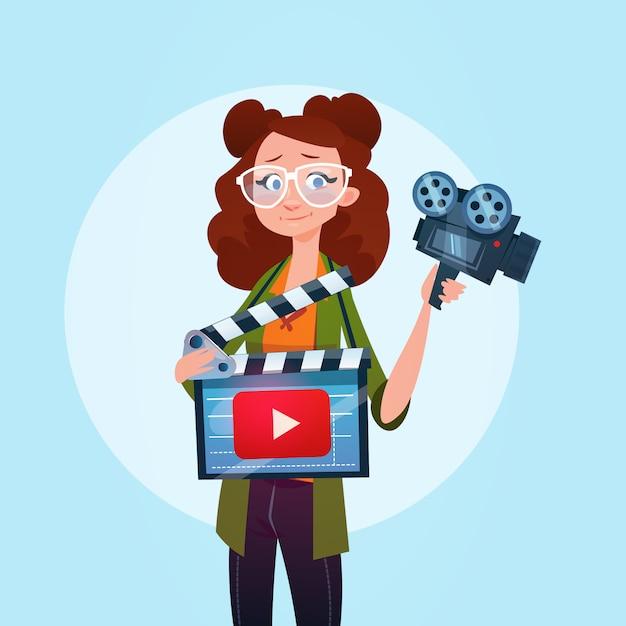 Mulher video blogger stream online blogging inscrever-se conceito Vetor Premium