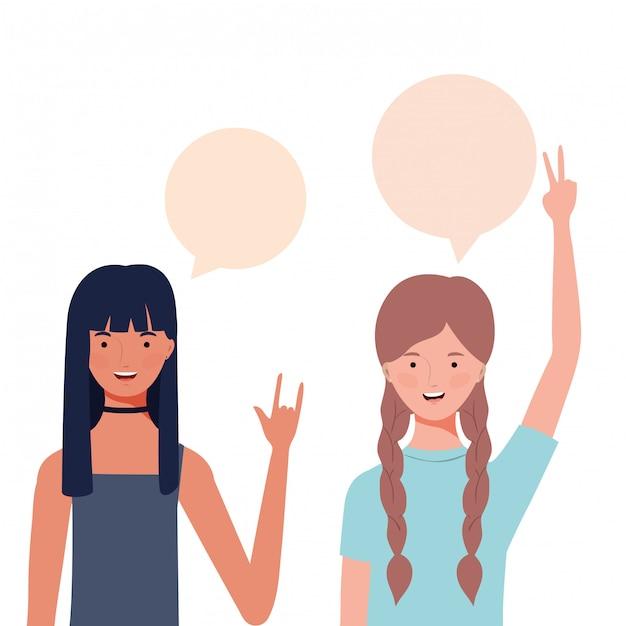 Mulheres, com, fala, bolha, avatar, personagem Vetor Premium