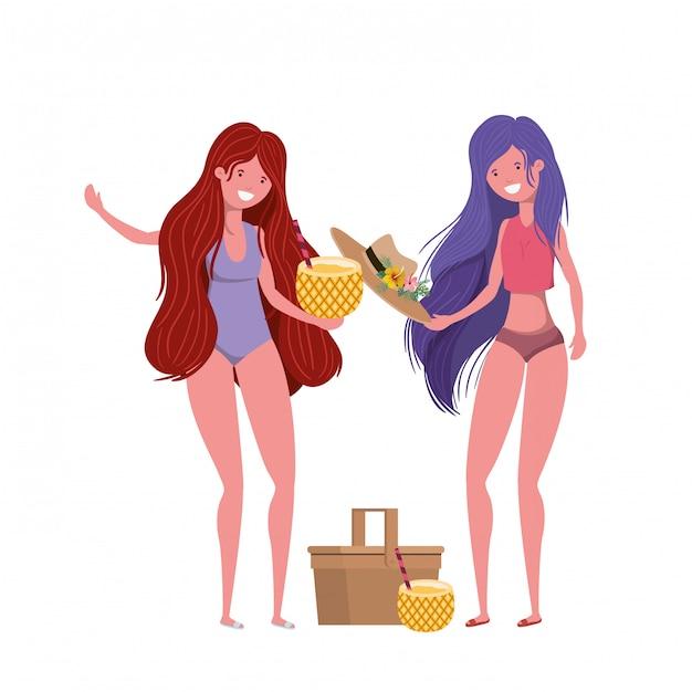 Mulheres com maiô e coquetel de abacaxi Vetor grátis