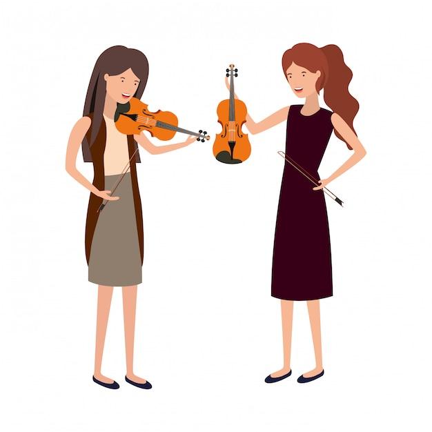 Mulheres, com, musical, instrumentos, personagem Vetor Premium