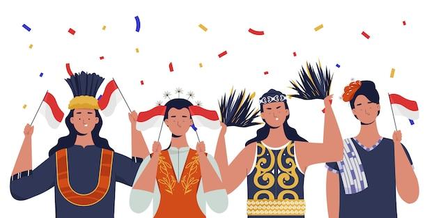 Mulheres com roupas tradicionais comemoram o dia da independência da indonésia Vetor Premium