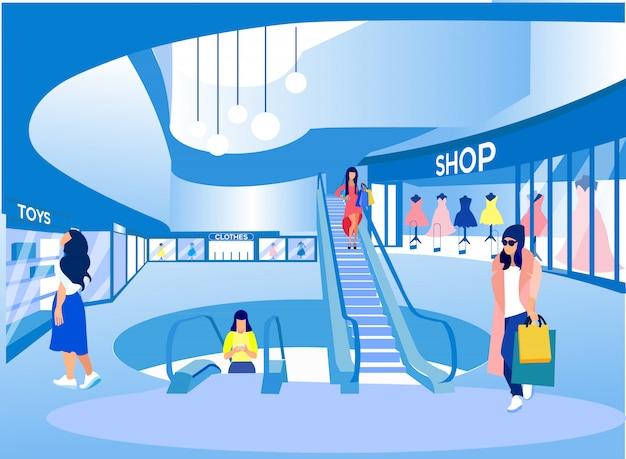 Mulheres com sacos na mão às compras no big mall. Vetor Premium