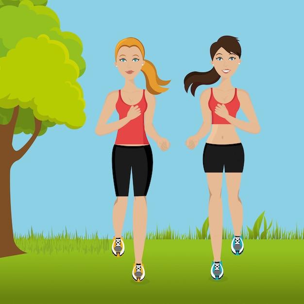 Mulheres correndo na paisagem Vetor grátis