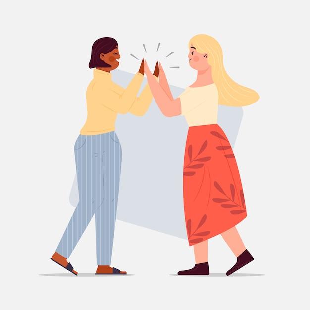 Mulheres dando alta ilustração cinco Vetor grátis