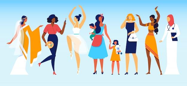 Mulheres de diferentes profissões e status social Vetor Premium