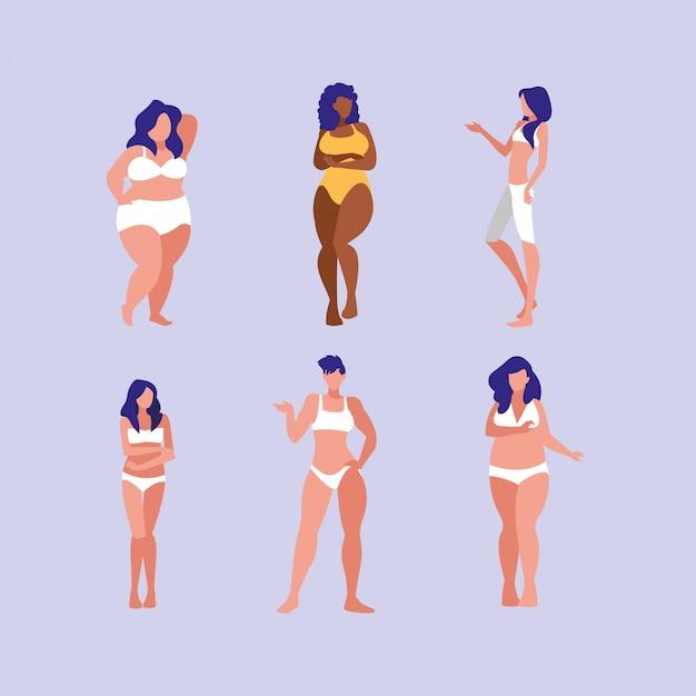 Mulheres de diferentes tamanhos e raças, modelando roupas íntimas Vetor Premium