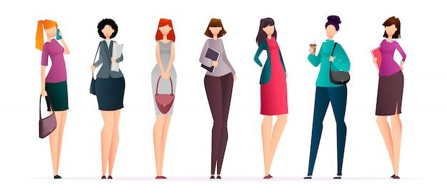 Mulheres de negócios bem sucedidos, conjunto Vetor Premium