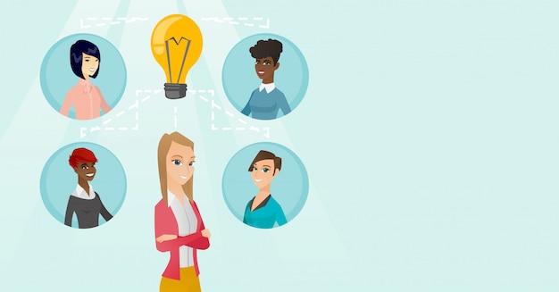 Mulheres de negócios jovens discutindo idéias criativas. Vetor Premium