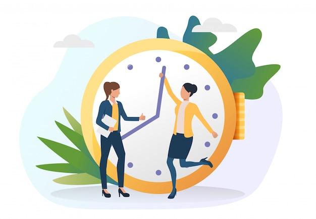 Mulheres de negócios, movendo o relógio mãos à frente Vetor grátis
